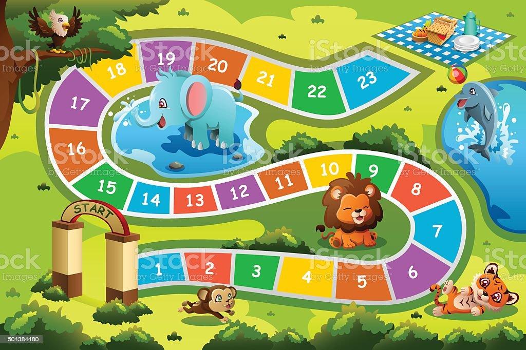 Board Game in Animal Theme向量藝術插圖