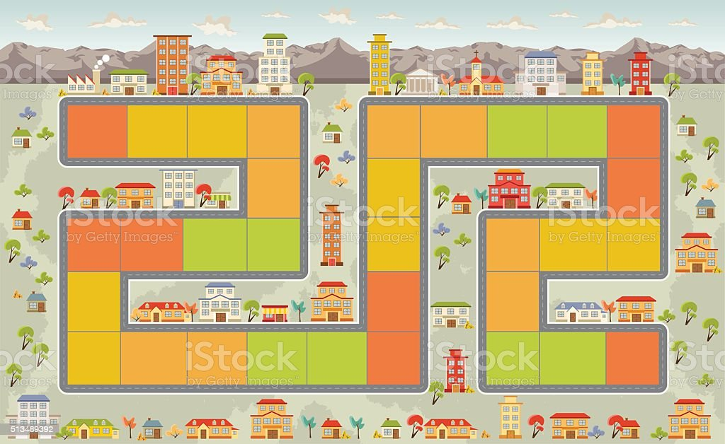 Board game on the city vector art illustration