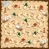 istock Board game on the old map. 1223790521