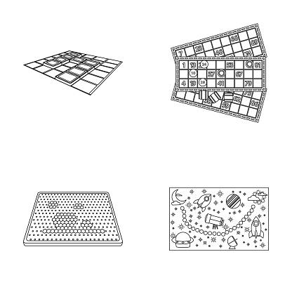 Brädspel Disposition Ikoner I Set Insamling För Design Spel Och Underhållning Vektor Symbol Lager Web Illustration-vektorgrafik och fler bilder på Applikation