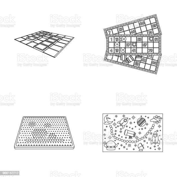 Board Game Outline Icons In Set Collection For Design Game And Entertainment Vector Symbol Stock Web Illustration - Arte vetorial de stock e mais imagens de Aplique - Trabalho de Agulha