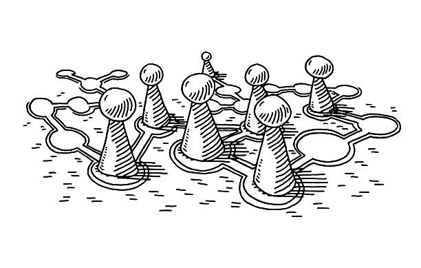 Board Game Pieces Drawing Hand-drawn vector drawing of a few Board Game Pieces. Black-and-White sketch on a transparent background (.eps-file). Included files are EPS (v10) and Hi-Res JPG. game stock illustrations