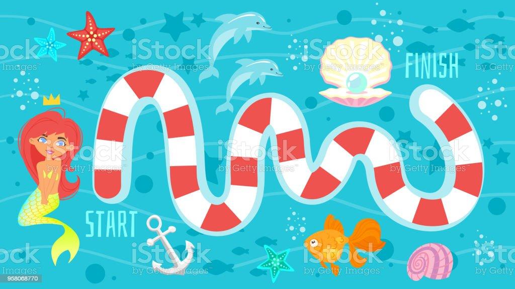 Brettspiel Vorlage Mit Meerjungfrau Stock Vektor Art Und Mehr Bilder