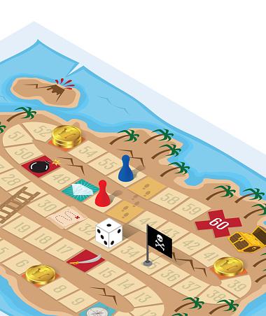 Board Game Treasure Island Map Pirate Adventure Quest for Gold Chest