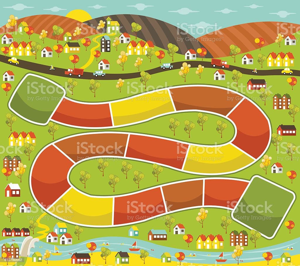Board game with a city vector art illustration