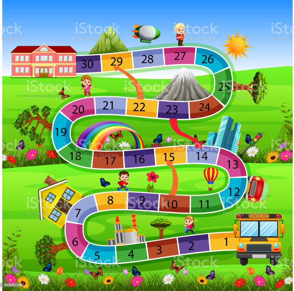 board game with back to school background vector art illustration