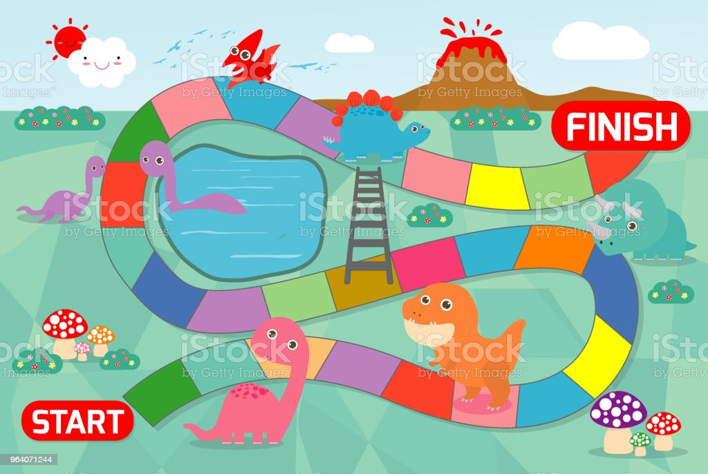 board game with Dinosaurs, Illustration of a board game with Dinosaurs background. game of kids - Royalty-free Animal stock vector