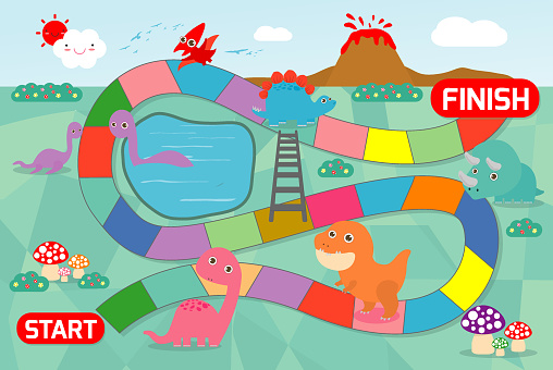 Board Game With Dinosaurs Illustration Of A Board Game With Dinosaurs Background Game Of Kids Stock Illustration - Download Image Now