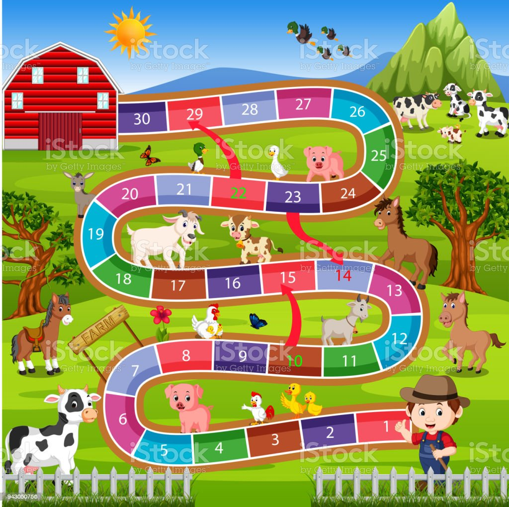 board game with farm background vector art illustration