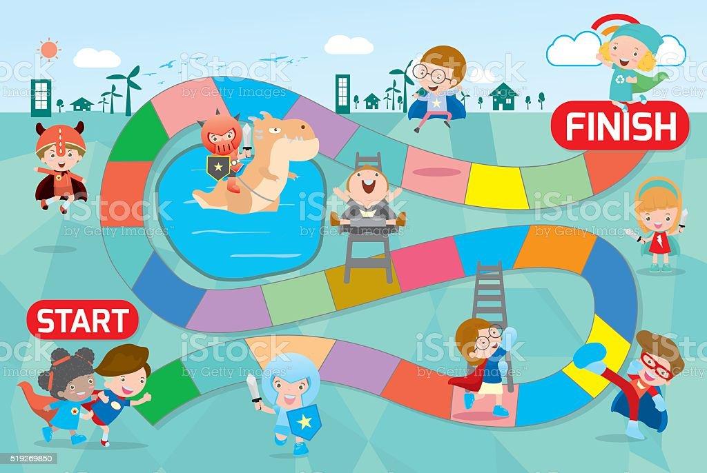 board game with Superhero Kids向量藝術插圖