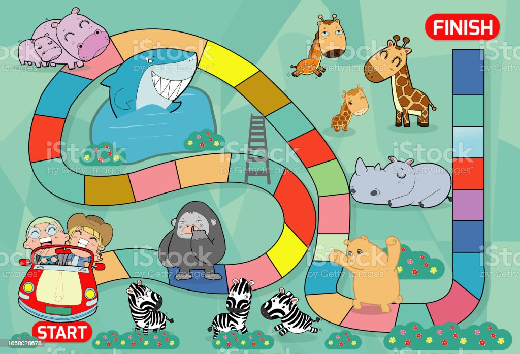board game with zoo, Illustration of a board game with zoo background. kids zoo animals board game, child game vector illustration vector art illustration