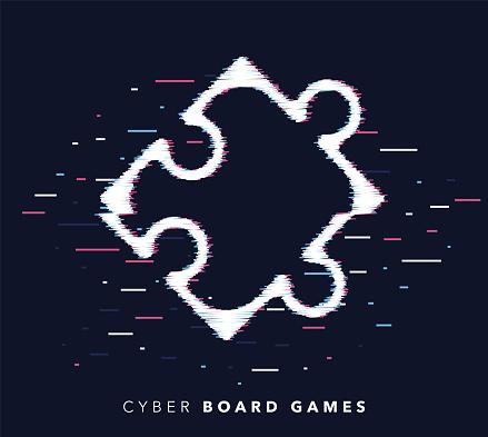 Board Games Glitch Effect Icon Illustration