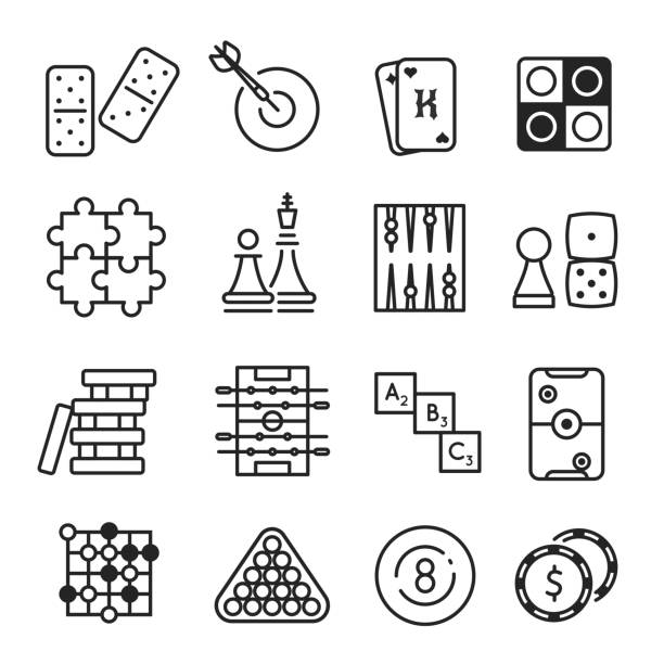 Board games icon set Board games icon set. Entertainment and strategy competition, checkers, chess, card or backgammon fun. Vector flat style cartoon illustration isolated on white background chess knight silhouette stock illustrations