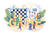 Board games. Tiny people playing and winning chess, domino, game cards and dice. Leisure time activity, whole family or friends activity. Modern flat cartoon style. Vector