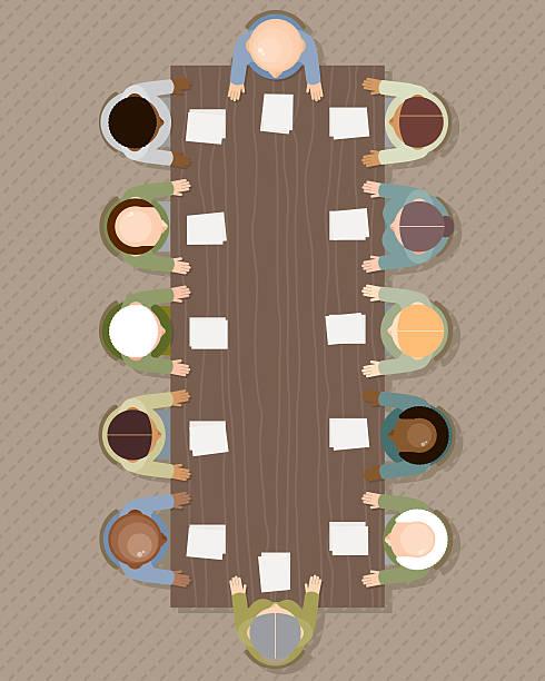illustrazioni stock, clip art, cartoni animati e icone di tendenza di riunione: vista dall'alto - business meeting, table view from above