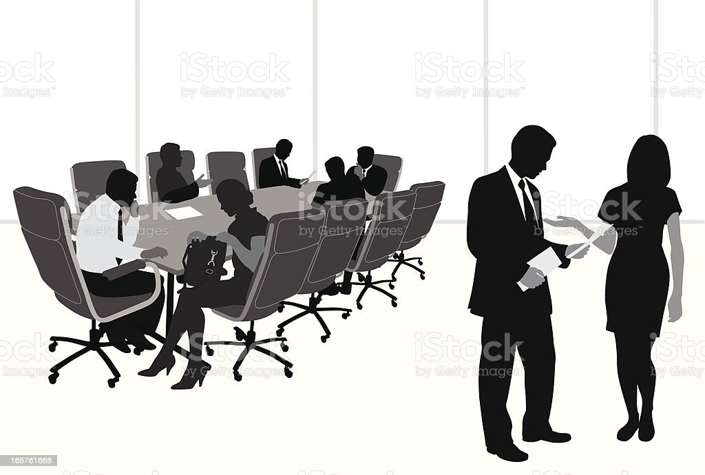 Board Meeting Vector Silhouette royalty-free stock vector art