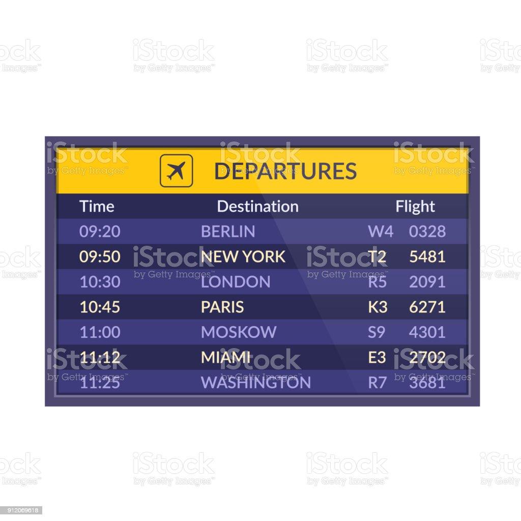 Board of departures in airport. Realistic flip airport scoreboard template vector art illustration