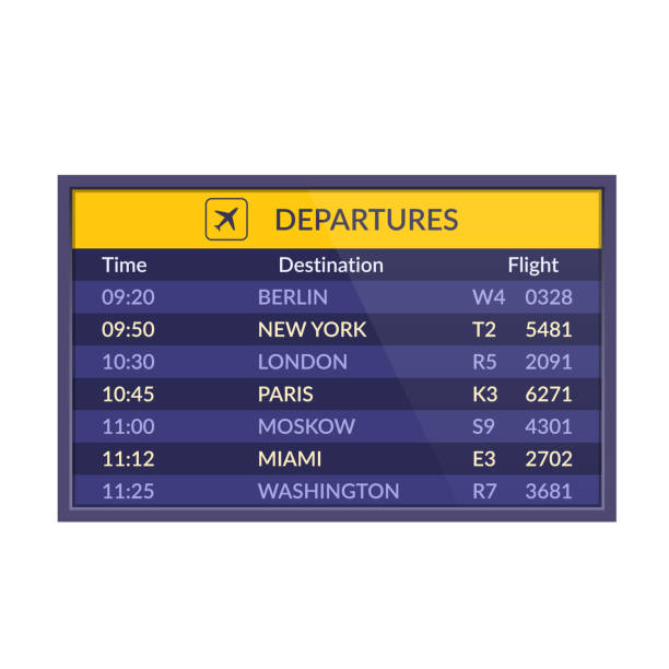 stockillustraties, clipart, cartoons en iconen met raad van vertrek in de luchthaven. realistische flip luchthaven scorebord sjabloon - vluchtschema