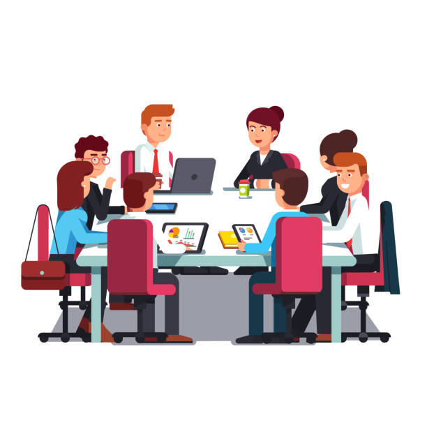 Board of Directors meeting at big conference desk. Flat vector clipart illustration vector art illustration