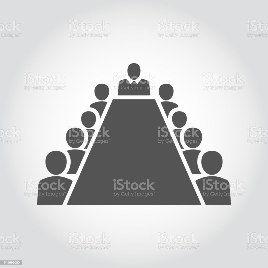 Board room members sitting around a table vector art illustration