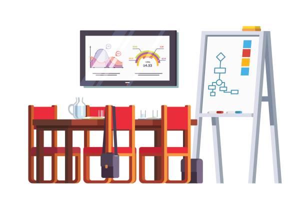 board room oder konferenz halle mit tisch - schultischrenovierung stock-grafiken, -clipart, -cartoons und -symbole
