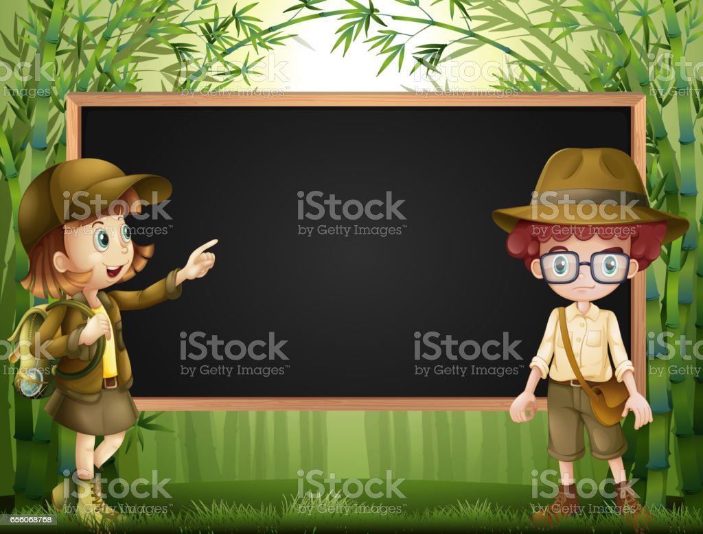 Board template with kids in safari outfit vector art illustration