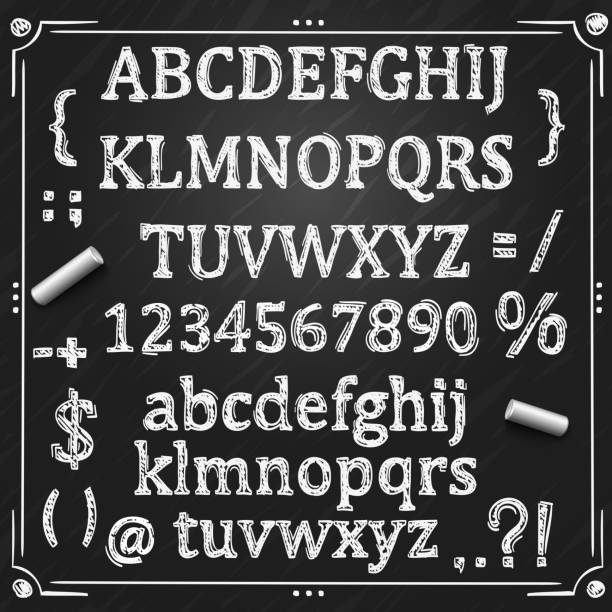 Board with a set of sketch symbols. Sketch Cyrillic font, Board with a set of sketch symbols, Sketch font alphabet and numbers, Vector illustration. alphabet borders stock illustrations