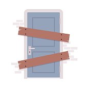 Boarded up door