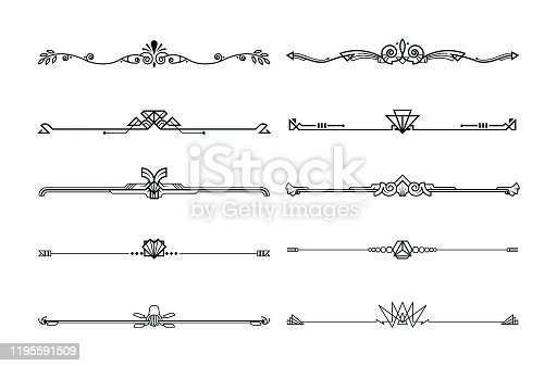Set of boarders decorative elements, border and page rules frame. vector illustration.