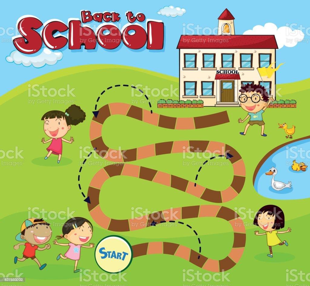 Brettspiel Vorlage Mit Kindern In Der Schule Stock Vektor Art Und