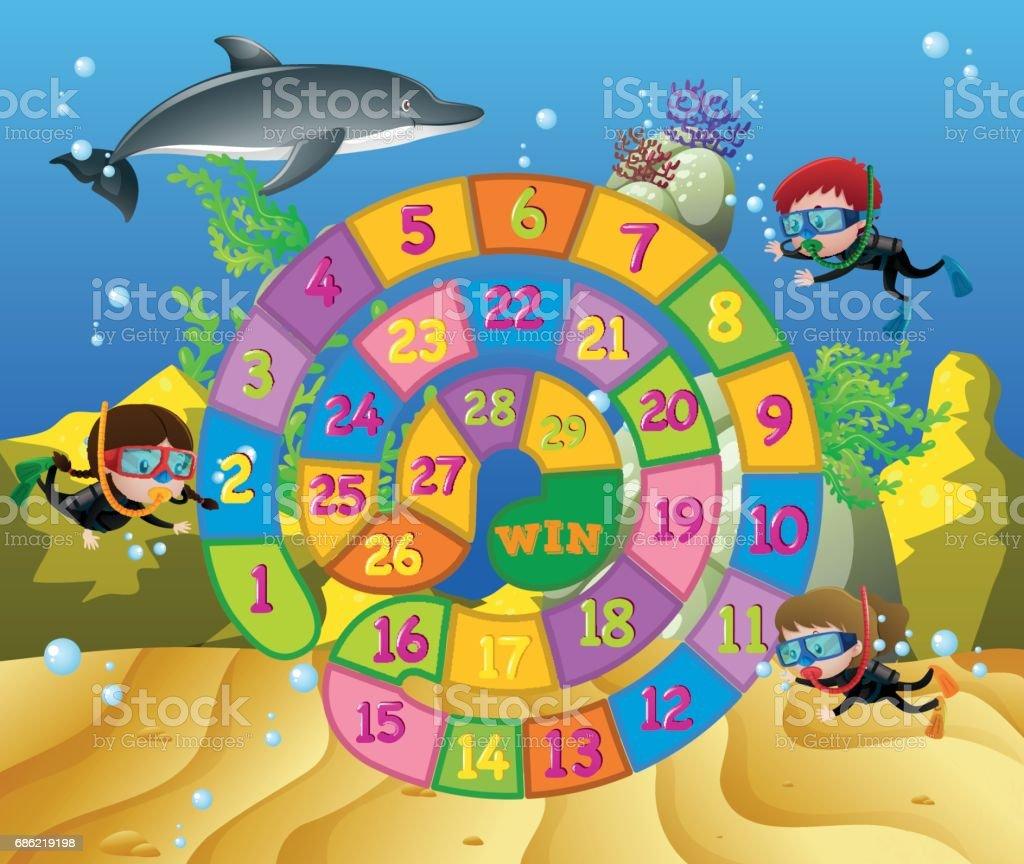 Brettspiel Vorlage Mit Kindern Und Delphin Unter Wasser Stock Vektor ...