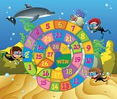 Boardgame template with kids and dolphin underwater