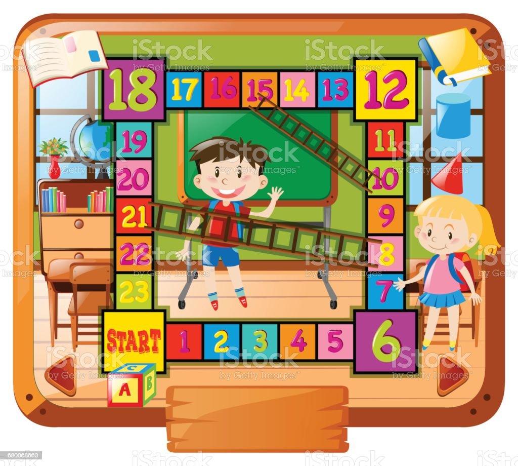 学校の背景に子供たちとボードゲーム テンプレート - イラストレーション