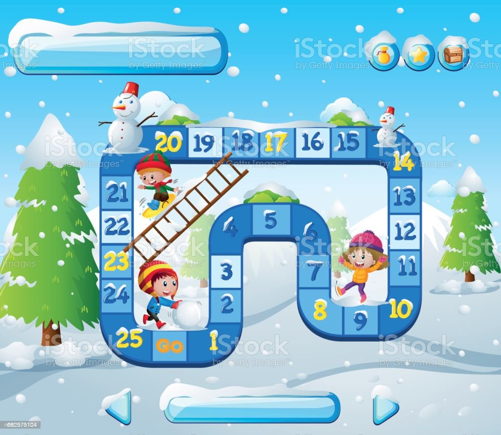 Brettspiel Vorlage Mit Kindern Beim Spielen Im Schnee Stock Vektor