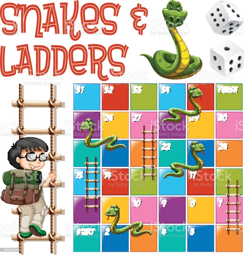Boardgame template with ladders and snakes vector art illustration