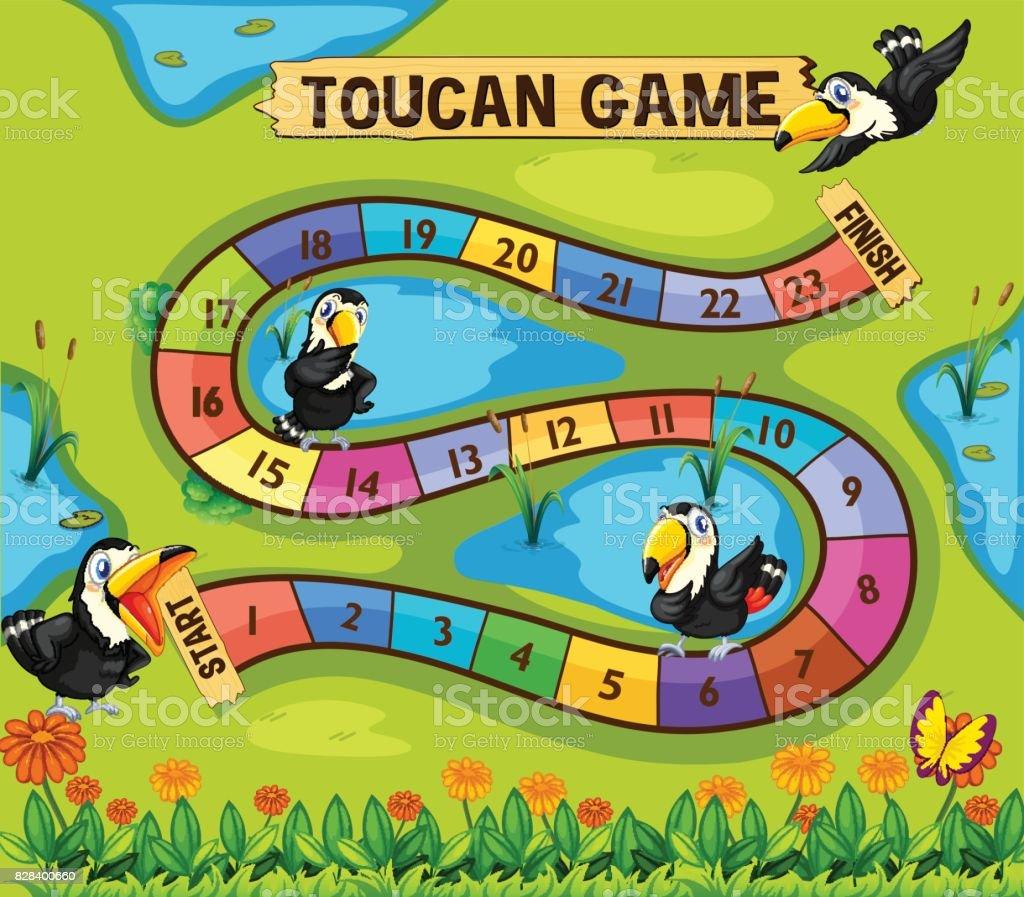 Brettspiel Vorlage Mit Toucan Vögel Im Park Vektor Illustration ...