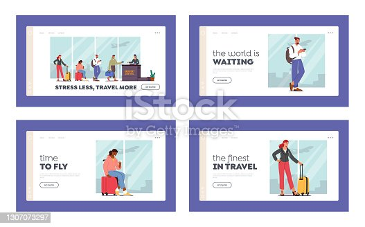 istock Boarding, Air Flight Landing Page Template Set. Passengers Characters with Luggage Stand in Queue Prepare for Flight 1307073297