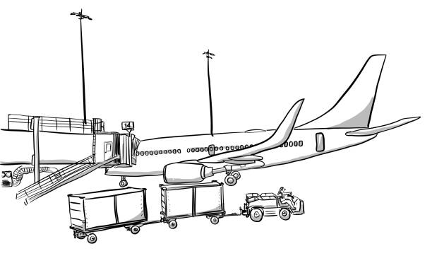 Boarding And Loading Luggage Aircraft parked at a gate terminal with a tug pulling carts to bring luggage to the plane airport drawings stock illustrations