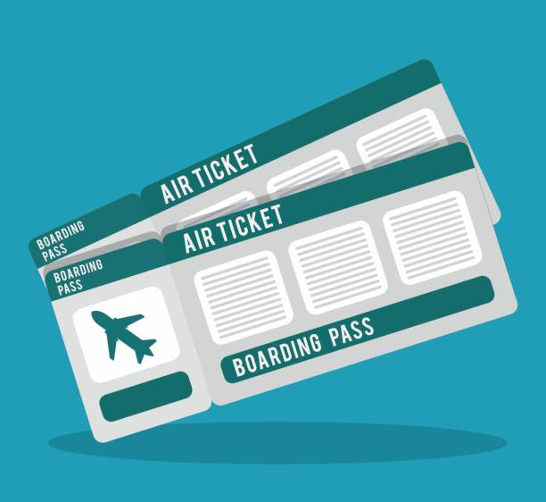 boarding pass icon image - airplane ticket stock illustrations