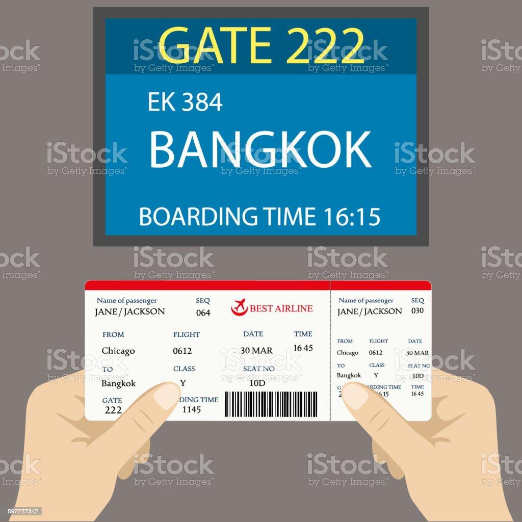 Boarding pass en la mano y una pantalla cerca de la puerta - ilustración de arte vectorial