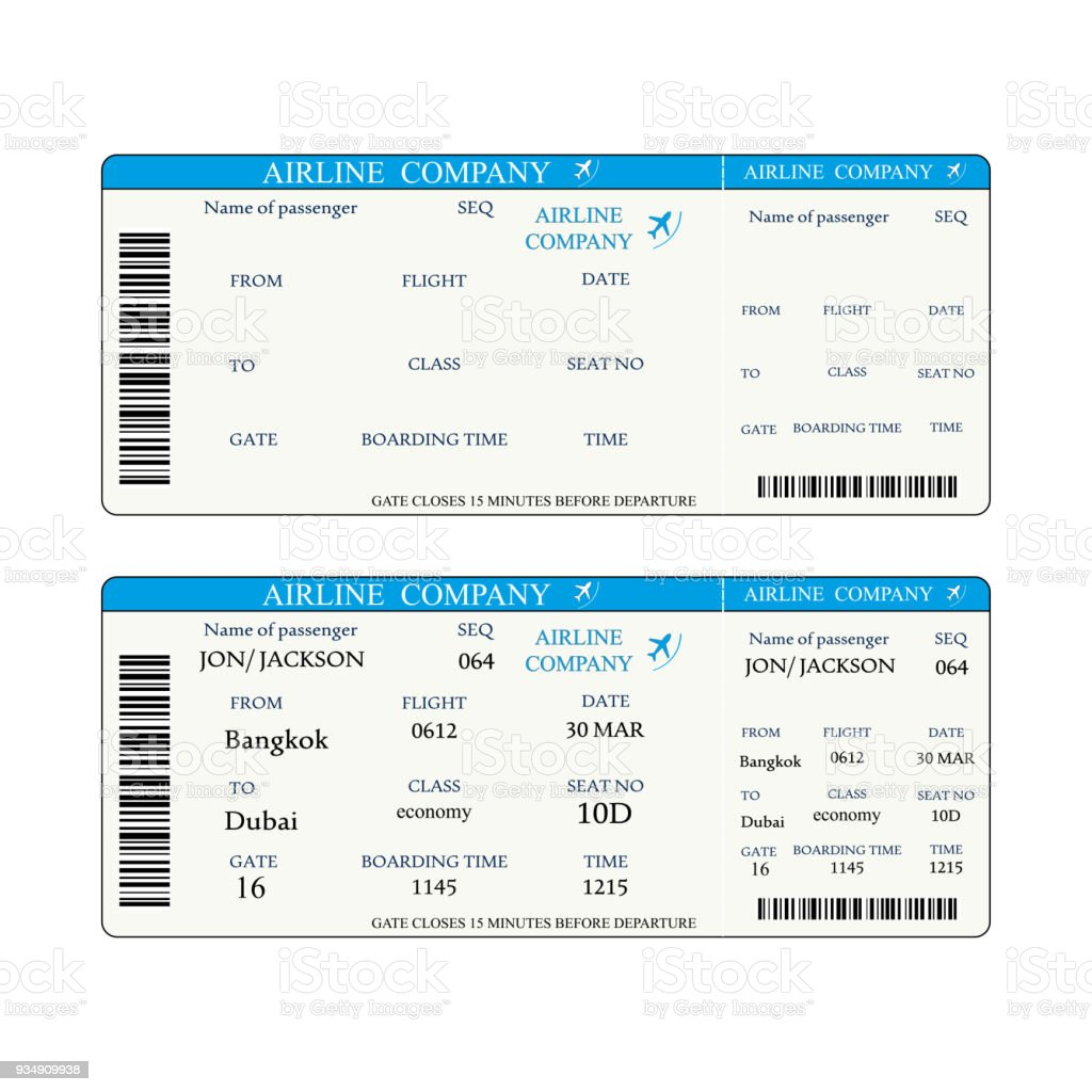 Boarding Pass Template Stock Vector Art & More Images of Air Vehicle ...