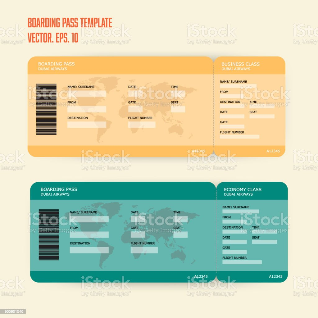 Boarding Pass Template Stock Vector Art & More Images of Abstract ...