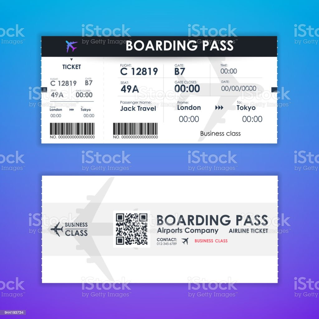 Boarding Pass Ticket Card Element Template For Graphics Design ...