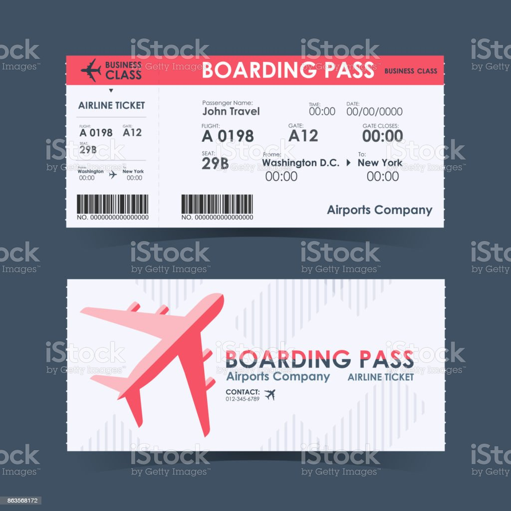 Boarding pass ticket red and white design element. vector illustration vector art illustration