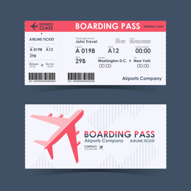 boarding pass ticket red and white design element. vector illustration - airplane ticket stock illustrations