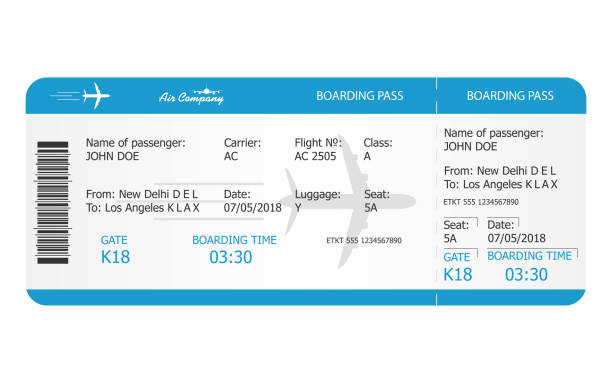 Boarding pass ticket template. Airplane ticket. online Booking airline ticket concept Boarding pass ticket template. Airplane ticket. online Booking airline ticket concept. Vector airplane ticket stock illustrations