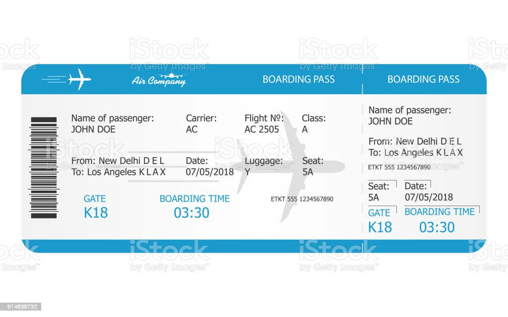 Modèle de billet Boarding pass. Billet d'avion. Réservation en ligne concept de billets d'avions - Illustration vectorielle