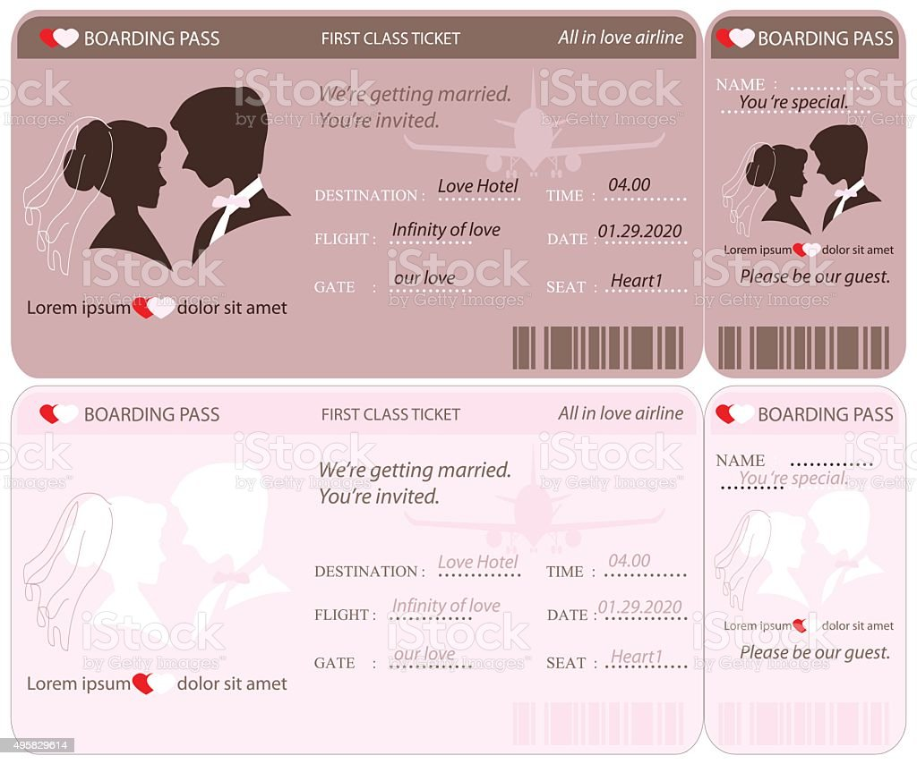 Boarding Pass Ticket Wedding Invitation Template Stock Vector Art - Wedding invitation templates: wedding invitation downloadable templates