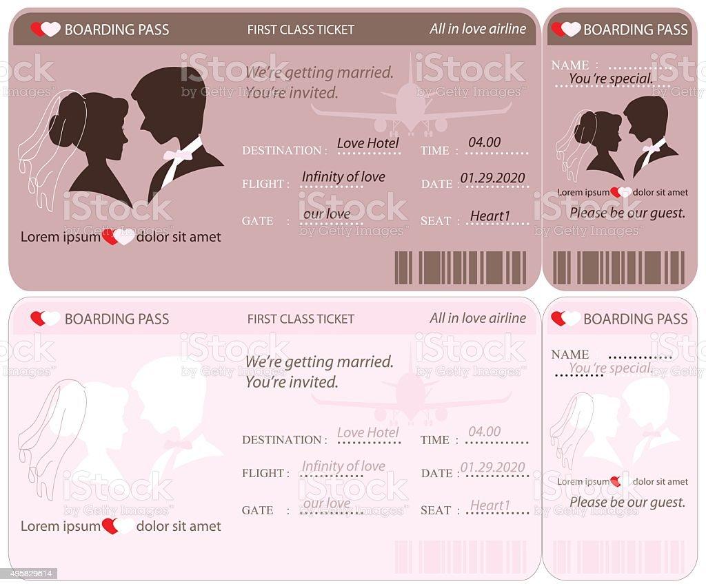 Bordkarten-Ticket Hochzeit Einladung Vorlage. – Vektorgrafik