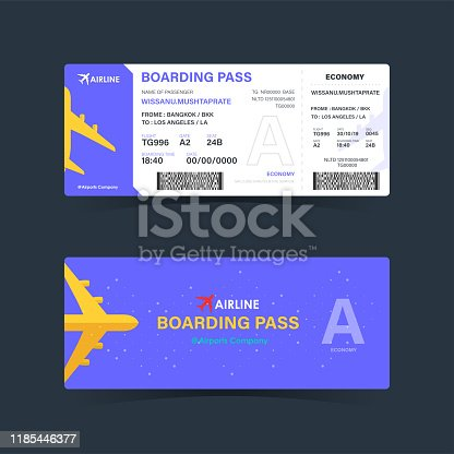 Boarding pass ticket with purple design. modern element template. vector illustration